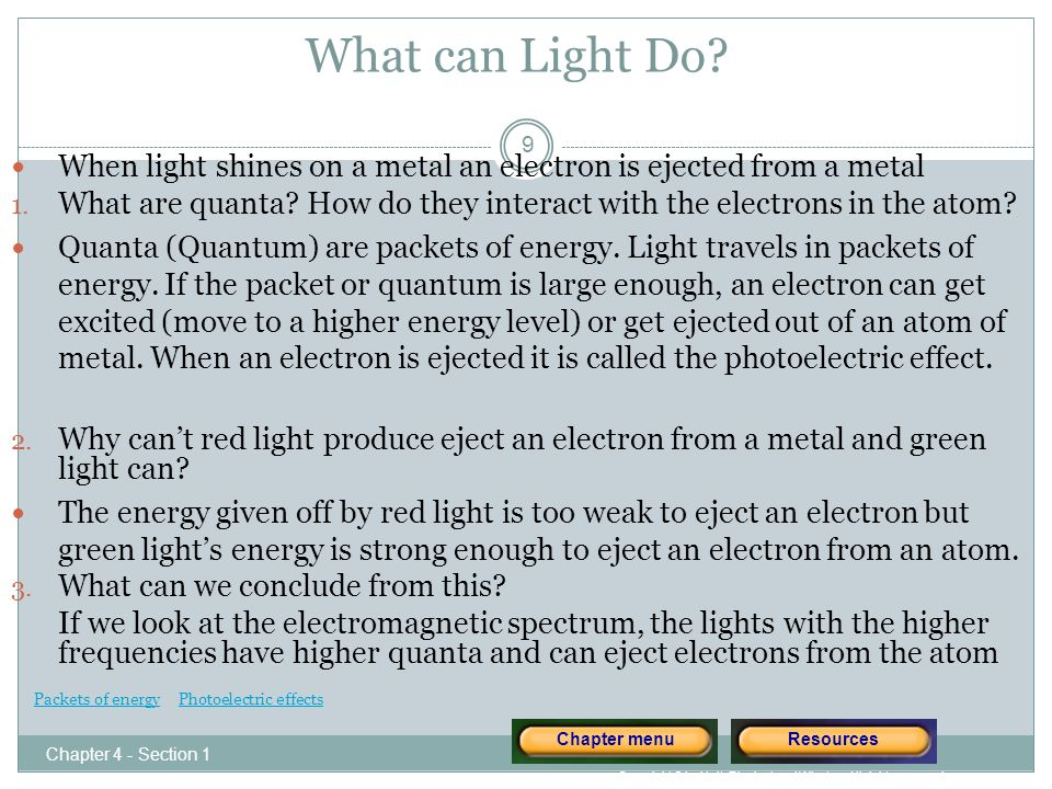 Results of Flame Test How do you think this property can be used? 20 Chapter 4 - Section 1