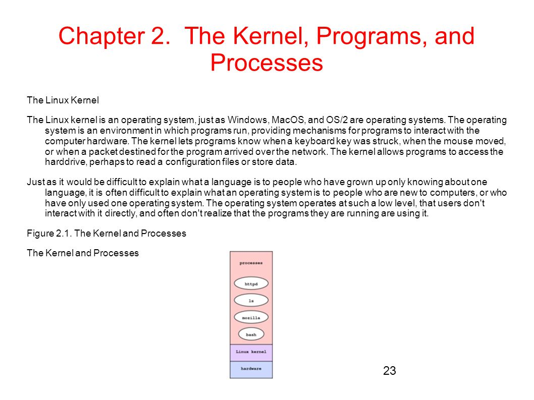 Chapter 2. The Kernel, Programs, and Processes The Linux Kernel The Linux kernel is an operating system, just as Windows, MacOS, and OS/2 are operatin