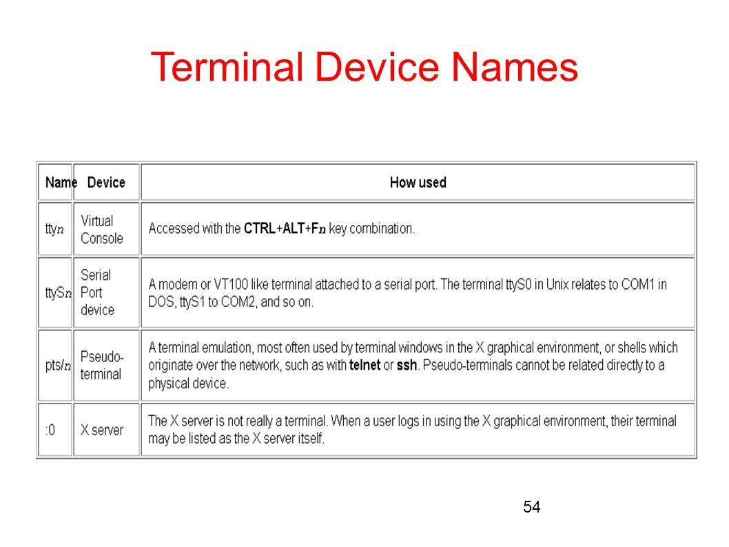 Terminal Device Names 54