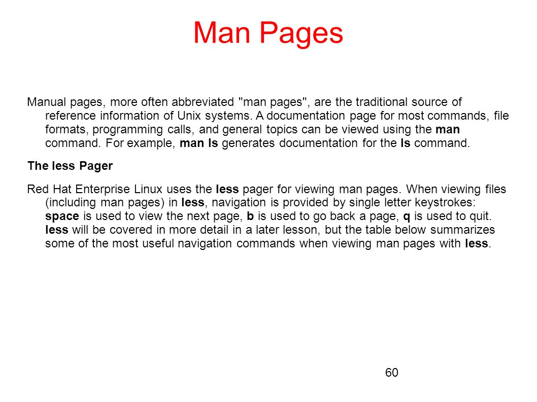 Man Pages Manual pages, more often abbreviated