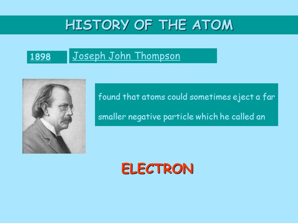 HISTORY OF THE ATOM 1898 Joseph John Thompson found that atoms could sometimes eject a far smaller negative particle which he called an ELECTRON