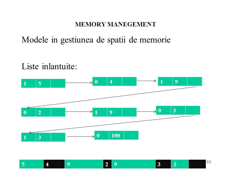 MEMORY MANEGEMENT 11 Modele in gestiunea de spatii de memorie Liste inlantuite: 5492933 15 0419 02 0100 13 03 19
