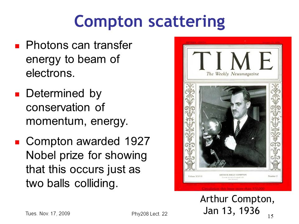 Tues. Nov. 17, 2009Phy208 Lect. 22 15 Compton scattering Photons can transfer energy to beam of electrons. Determined by conservation of momentum, ene