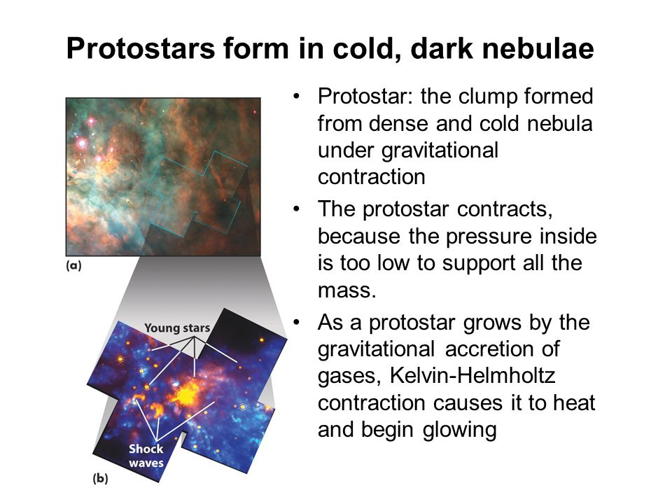 Protostars form in cold, dark nebulae Protostar: the clump formed from dense and cold nebula under gravitational contraction The protostar contracts,