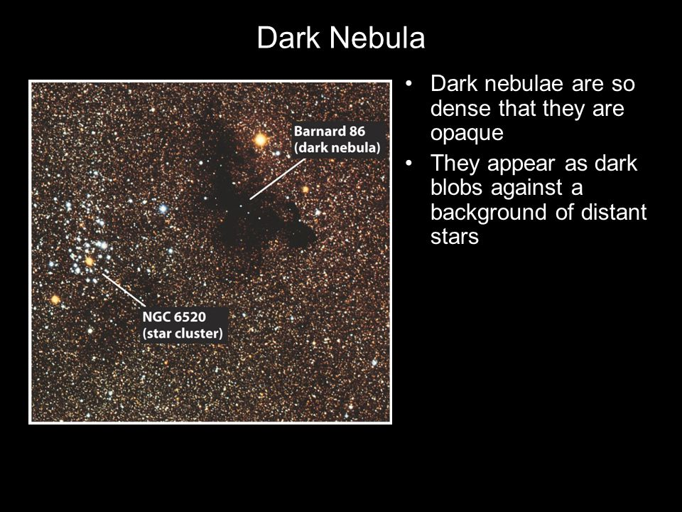 Dark Nebula Dark nebulae are so dense that they are opaque They appear as dark blobs against a background of distant stars
