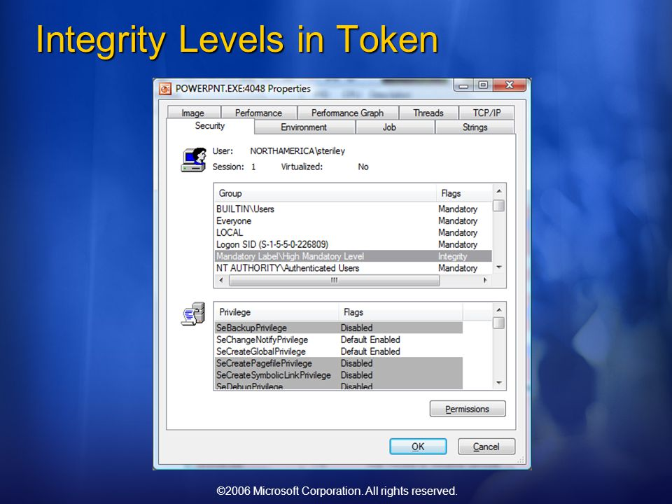 ©2006 Microsoft Corporation. All rights reserved. Integrity Levels in Token