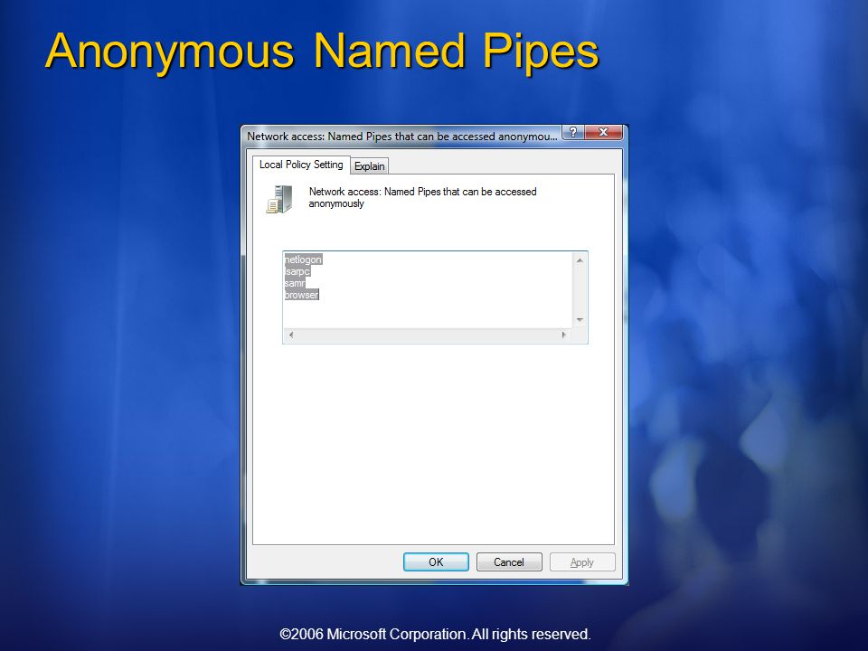 ©2006 Microsoft Corporation. All rights reserved. Anonymous Named Pipes