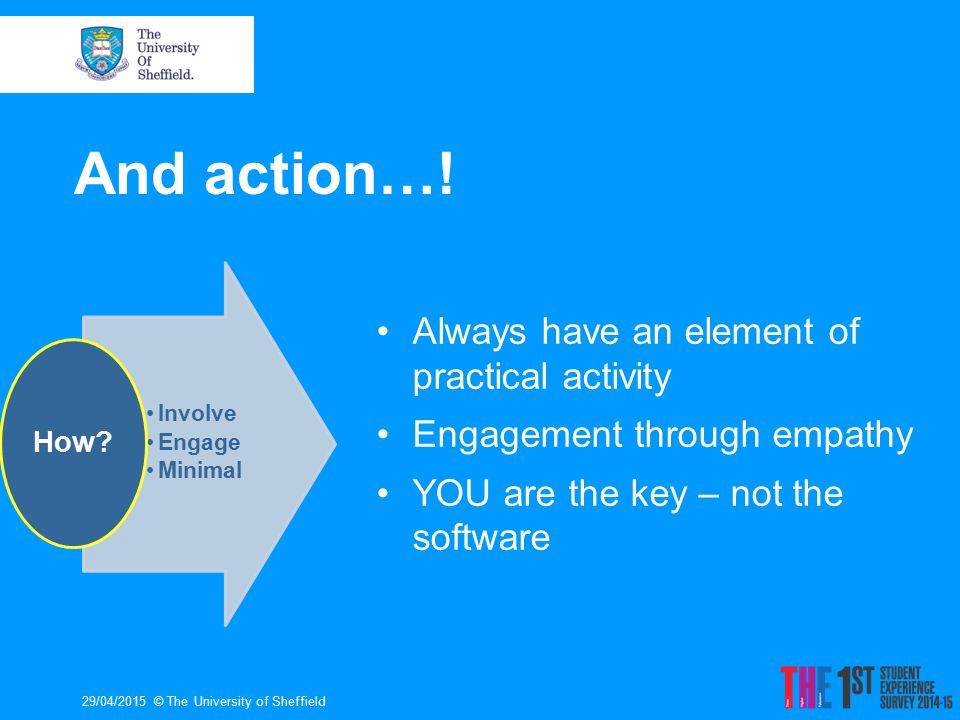 29/04/2015© The University of Sheffield Involve Engage Minimal How? And action…! Always have an element of practical activity Engagement through empat