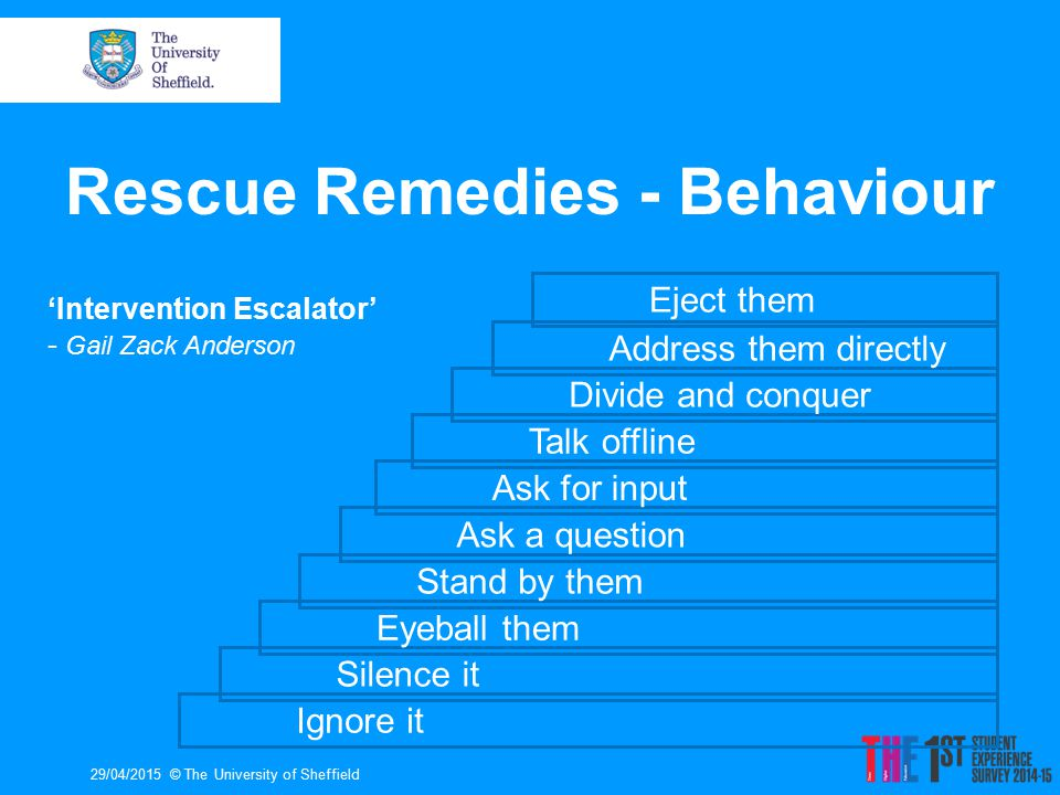 Rescue Remedies - Behaviour 29/04/2015© The University of Sheffield Ignore it Silence it Eyeball them Stand by them Ask a question Ask for input Talk