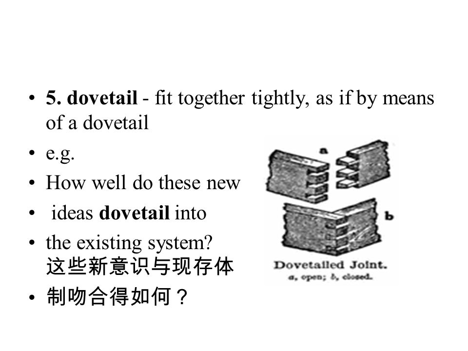 5. dovetail - fit together tightly, as if by means of a dovetail e.g. How well do these new ideas dovetail into the existing system? 这些新意识与现存体 制吻合得如何?