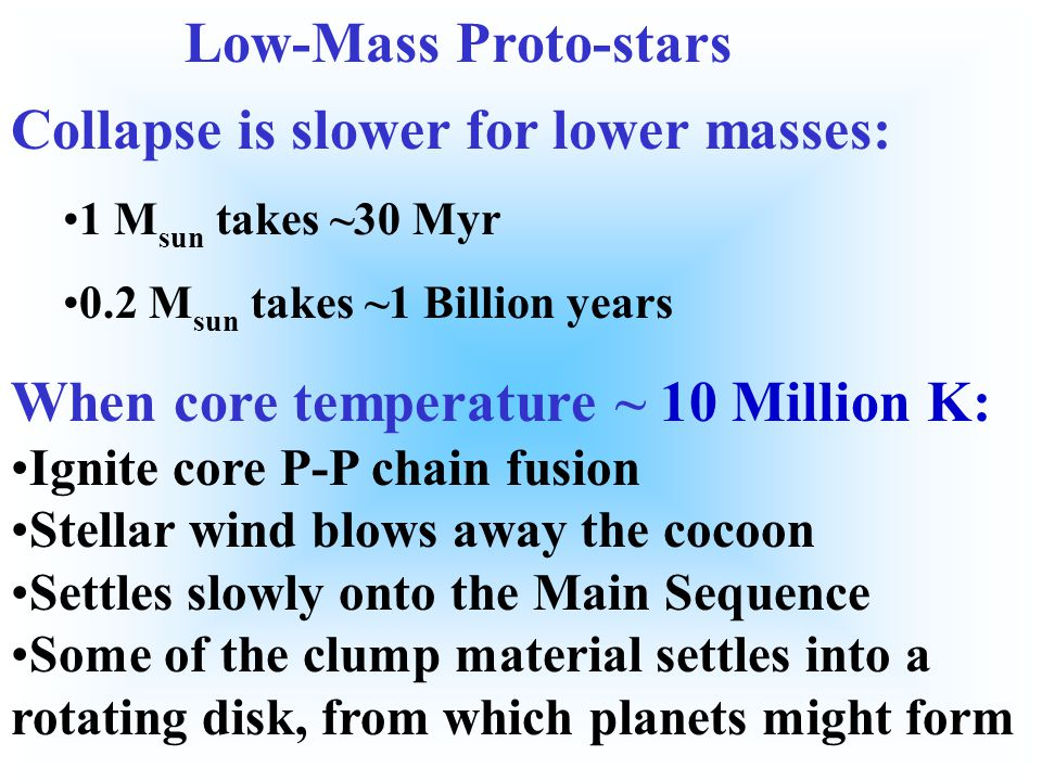 When core temperature ~ 10 Million K: Ignite core P-P chain fusion Stellar wind blows away the cocoon Settles slowly onto the Main Sequence Some of the clump material settles into a rotating disk, from which planets might form.