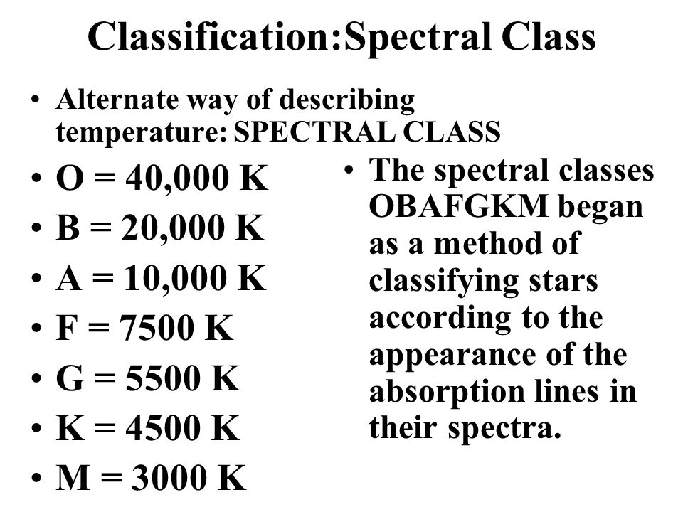 Classification:Spectral Class Alternate way of describing temperature: SPECTRAL CLASS O = 40,000 K B = 20,000 K A = 10,000 K F = 7500 K G = 5500 K K = 4500 K M = 3000 K The spectral classes OBAFGKM began as a method of classifying stars according to the appearance of the absorption lines in their spectra.