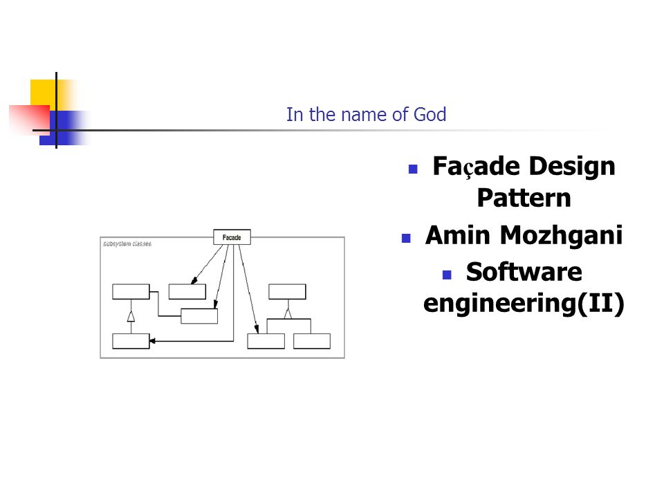 In the name of God Fa ç ade Design Pattern Amin Mozhgani Software engineering(II)