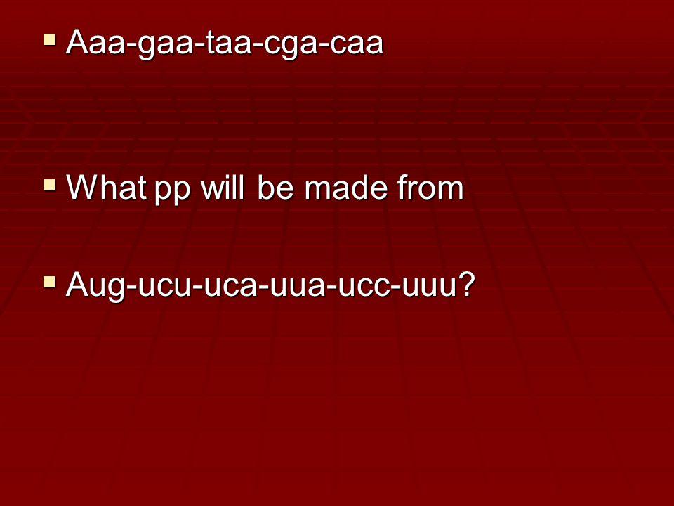  Aaa-gaa-taa-cga-caa  What pp will be made from  Aug-ucu-uca-uua-ucc-uuu
