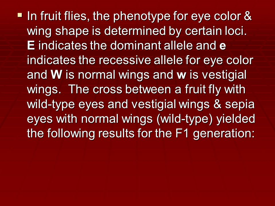  In fruit flies, the phenotype for eye color & wing shape is determined by certain loci.