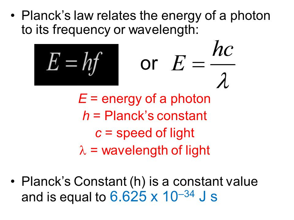 Planck's law relates the energy of a photon to its frequency or wavelength: E = energy of a photon h = Planck's constant c = speed of light = waveleng
