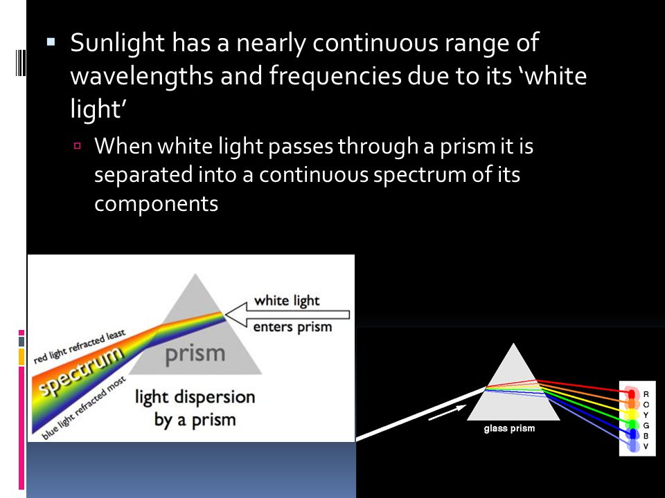  Sunlight has a nearly continuous range of wavelengths and frequencies due to its 'white light'  When white light passes through a prism it is separated into a continuous spectrum of its components
