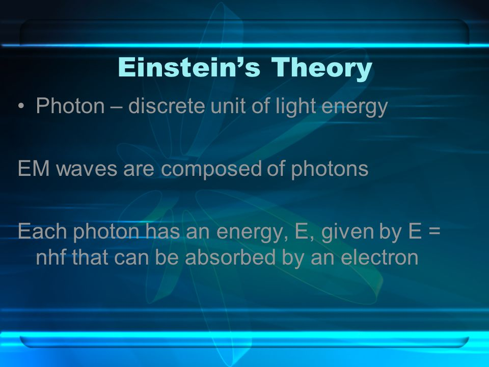 Einstein's Theory Photon – discrete unit of light energy EM waves are composed of photons Each photon has an energy, E, given by E = nhf that can be a