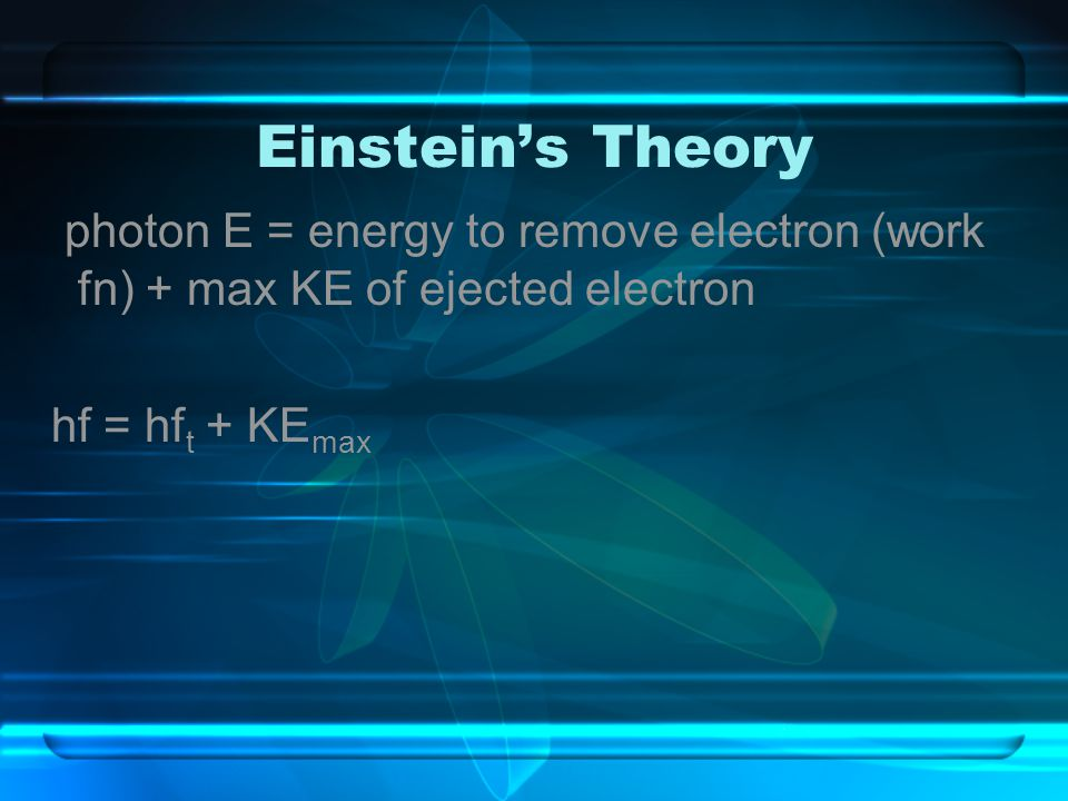 Einstein's Theory photon E = energy to remove electron (work fn) + max KE of ejected electron hf = hf t + KE max