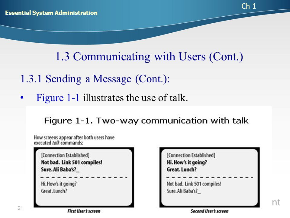 21 1.3.1 Sending a Message (Cont.): Figure 1-1 illustrates the use of talk.