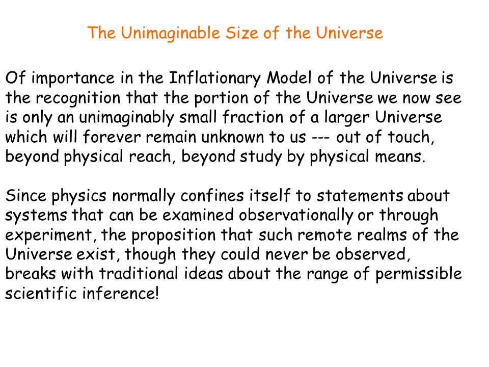 Of importance in the Inflationary Model of the Universe is the recognition that the portion of the Universe we now see is only an unimaginably small f