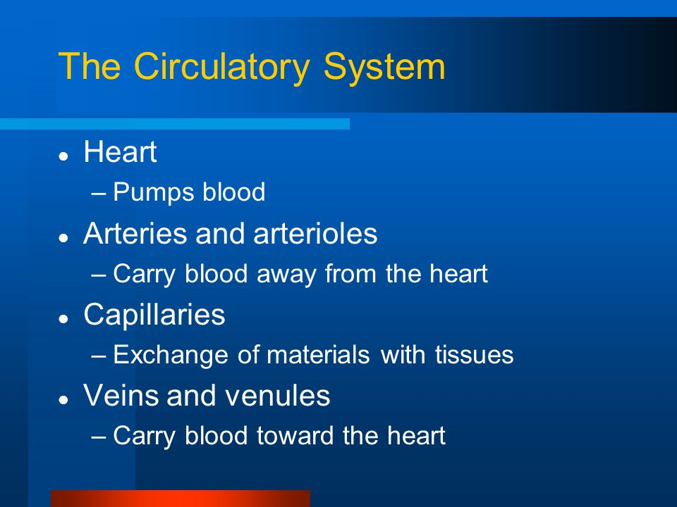 The Circulatory System Heart –Pumps blood Arteries and arterioles –Carry blood away from the heart Capillaries –Exchange of materials with tissues Veins and venules –Carry blood toward the heart