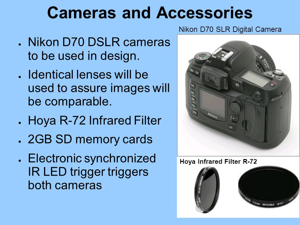 Cameras and Accessories Hoya Infrared Filter R-72 Nikon D70 SLR Digital Camera ● Nikon D70 DSLR cameras to be used in design.
