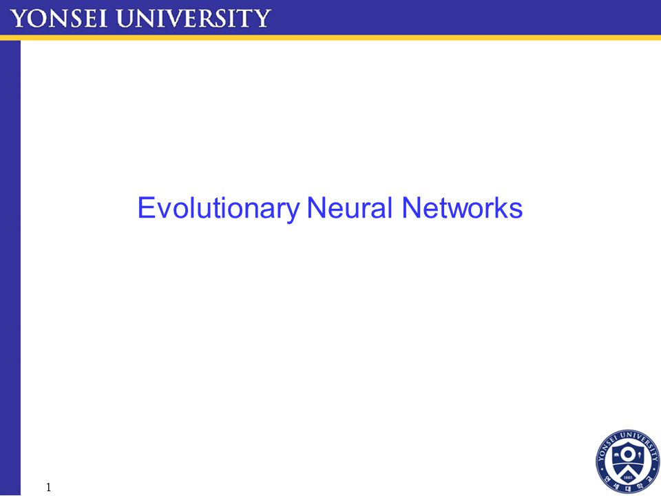 1 Evolutionary Neural Networks