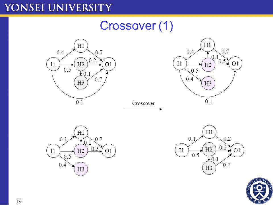 19 Crossover (1) I1 H1 H3 H2O1 0.4 0.5 0.1 0.7 0.1 0.2 0.7 I1 H1 H3 H2O1 0.1 0.5 0.2 0.1 0.5 Crossover 0.4 I1 H1 0.40.7 O1 I1 H1 O1 0.10.2 H3 H2 0.5 0.1 0.2 0.7 0.1 0.4 H3 H2 0.5 0.1