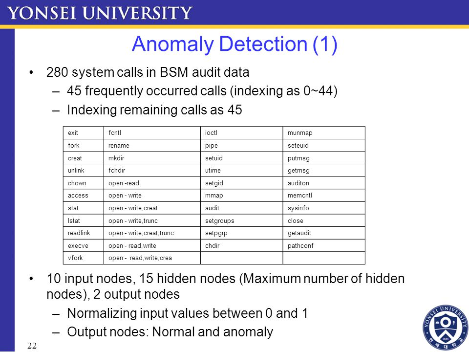 22 Anomaly Detection (1) 280 system calls in BSM audit data –45 frequently occurred calls (indexing as 0~44) –Indexing remaining calls as 45 10 input nodes, 15 hidden nodes (Maximum number of hidden nodes), 2 output nodes –Normalizing input values between 0 and 1 –Output nodes: Normal and anomaly exitfcntlioctlmunmap forkrenamepipeseteuid creatmkdirsetuidputmsg unlinkfchdirutimegetmsg chownopen -readsetgidauditon accessopen - write mmapmemcntl statopen - write,creatauditsysinfo lstatopen - write,truncsetgroupsclose readlinkopen - write,creat,truncsetpgrpgetaudit execveopen - read,writechdirpathconf vforkopen - read,write,crea