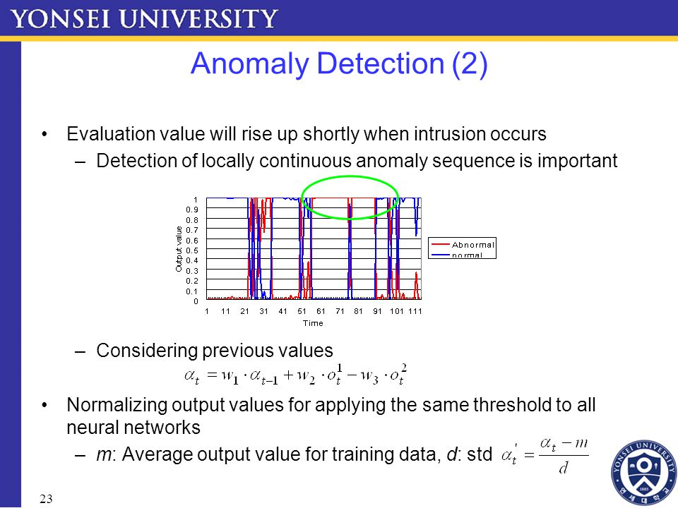 23 Anomaly Detection (2) Evaluation value will rise up shortly when intrusion occurs –Detection of locally continuous anomaly sequence is important –Considering previous values Normalizing output values for applying the same threshold to all neural networks –m: Average output value for training data, d: std