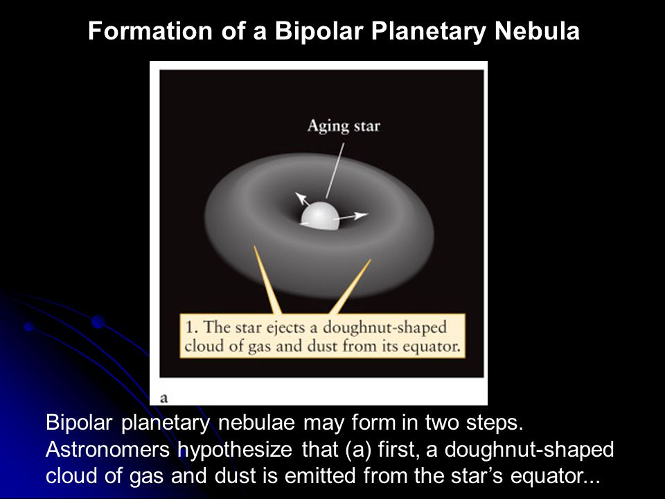 Formation of a Bipolar Planetary Nebula Bipolar planetary nebulae may form in two steps. Astronomers hypothesize that (a) first, a doughnut-shaped clo