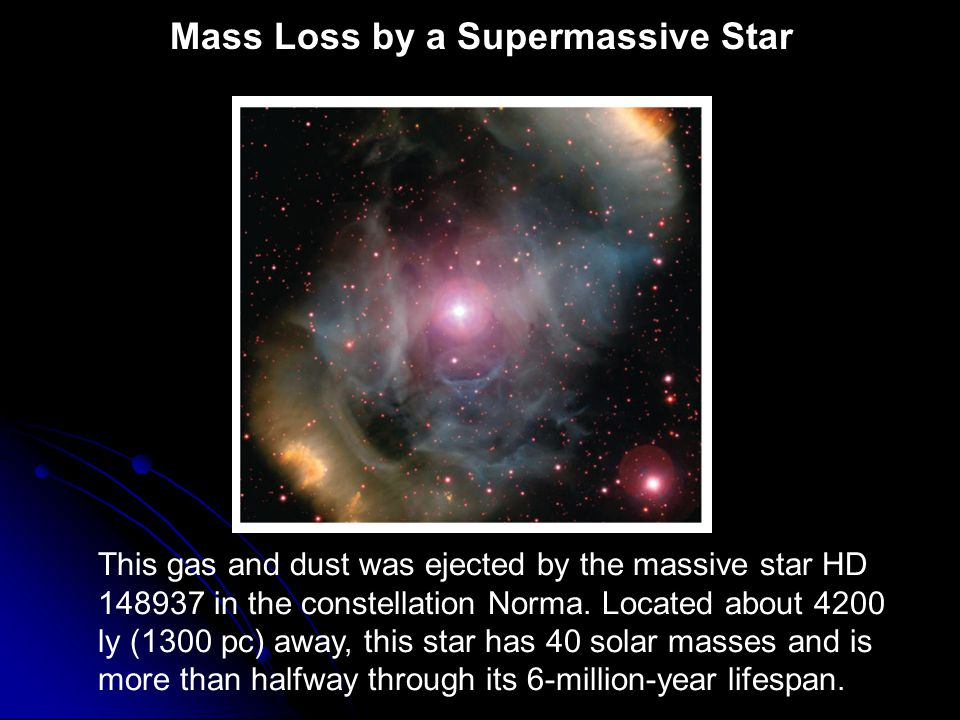 Mass Loss by a Supermassive Star This gas and dust was ejected by the massive star HD 148937 in the constellation Norma. Located about 4200 ly (1300 p