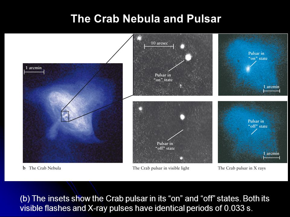 """The Crab Nebula and Pulsar (b) The insets show the Crab pulsar in its """"on"""" and """"off"""" states. Both its visible flashes and X-ray pulses have identical"""