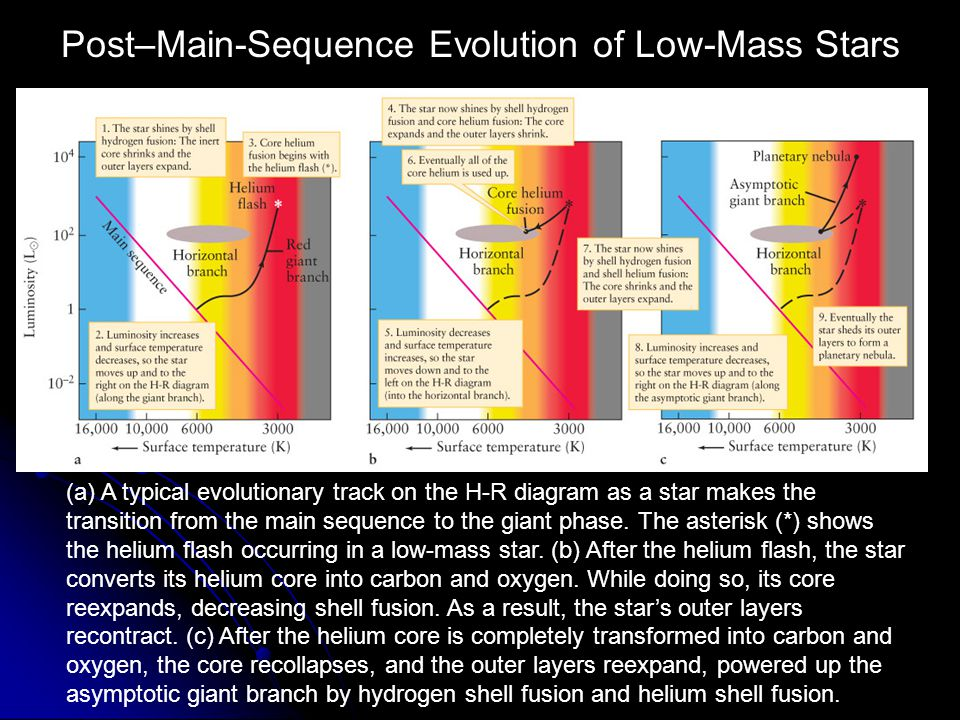 The Structure of an Old Low-Mass Star Near the end of its life, a low-mass star, like the Sun, travels up the AGB and becomes a supergiant.