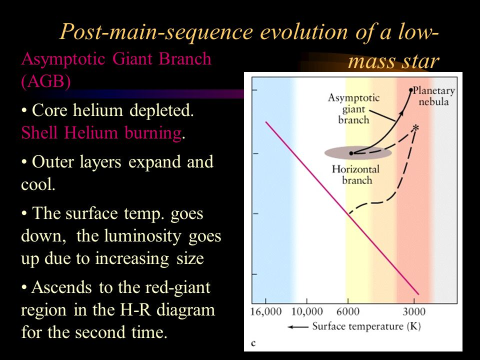 Evolution from Giants to White Dwarfs TrackGiant starejected nebulaWhite dwarf A3.01.81.2 B1.50.70.8 C 0.20.6 Mass in M 