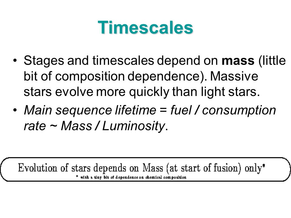 Timescales Stages and timescales depend on mass (little bit of composition dependence). Massive stars evolve more quickly than light stars. Main seque