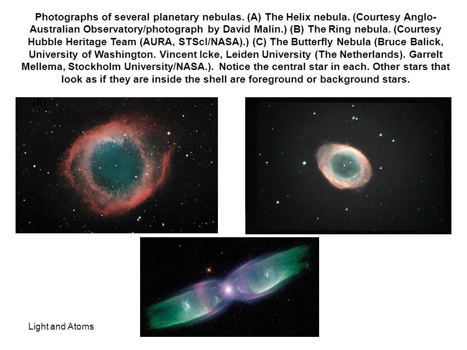 Light and Atoms Photographs of several planetary nebulas. (A) The Helix nebula. (Courtesy Anglo- Australian Observatory/photograph by David Malin.) (B