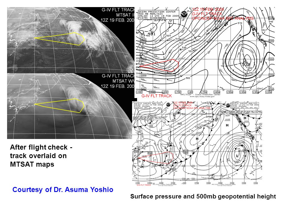 After flight check - track overlaid on MTSAT maps Surface pressure and 500mb geopotential height Courtesy of Dr.