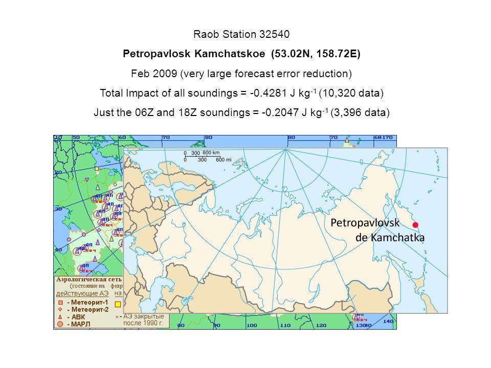 Raob Station 32540 Petropavlosk Kamchatskoe (53.02N, 158.72E) Feb 2009 (very large forecast error reduction) Total Impact of all soundings = -0.4281 J kg -1 (10,320 data) Just the 06Z and 18Z soundings = -0.2047 J kg -1 (3,396 data)