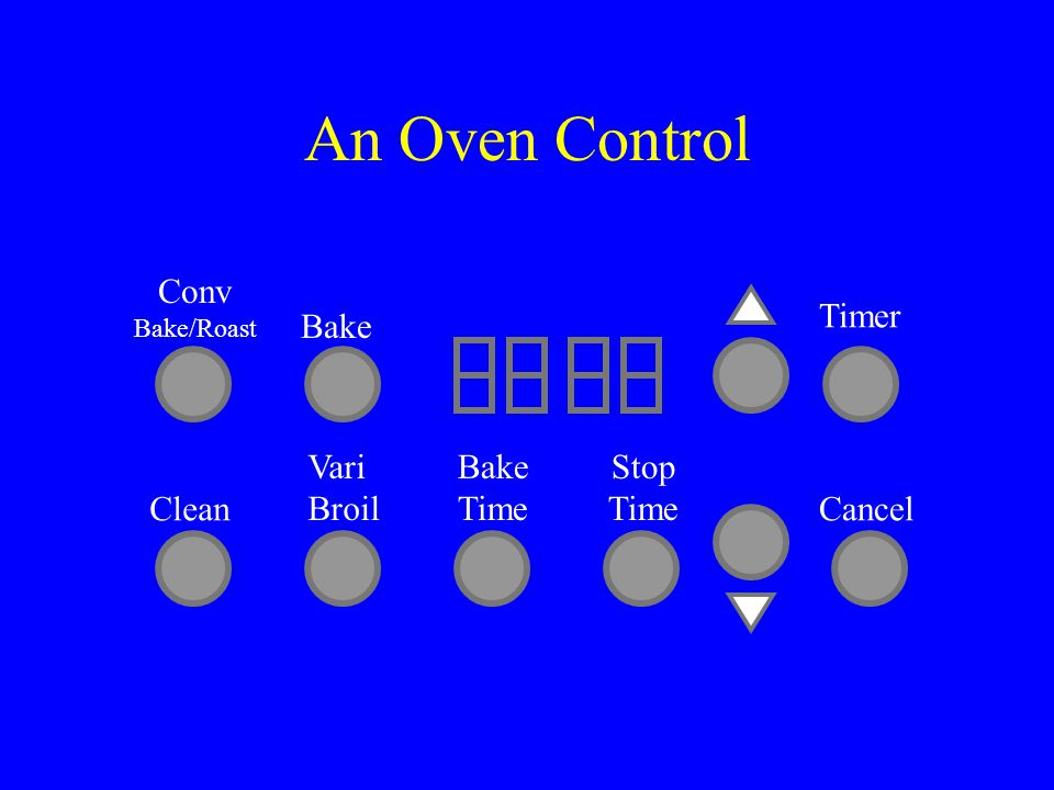 An Oven Control Conv Bake/Roast Bake Vari Broil Bake Time Stop Time Clean Timer Cancel