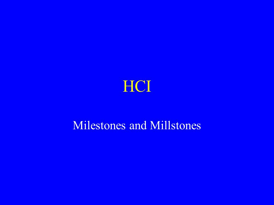 HCI Milestones and Millstones