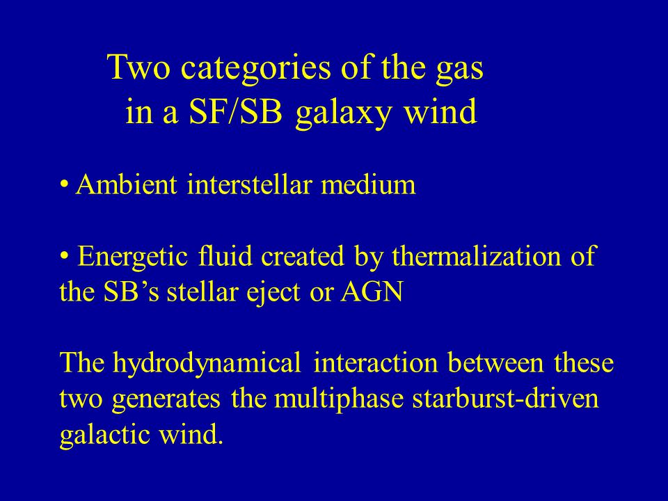 Two categories of the gas in a SF/SB galaxy wind Ambient interstellar medium Energetic fluid created by thermalization of the SB's stellar eject or AG