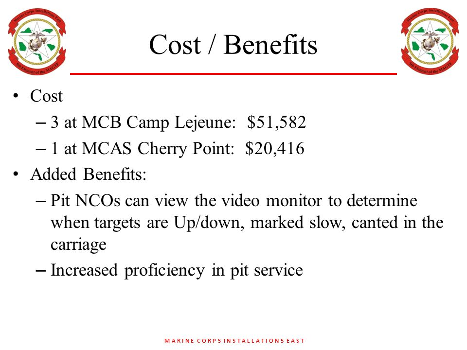 M A R I N E C O R P S I N S T A L L A T I O N S E A S T Cost / Benefits Cost – 3 at MCB Camp Lejeune: $51,582 – 1 at MCAS Cherry Point: $20,416 Added Benefits: – Pit NCOs can view the video monitor to determine when targets are Up/down, marked slow, canted in the carriage – Increased proficiency in pit service