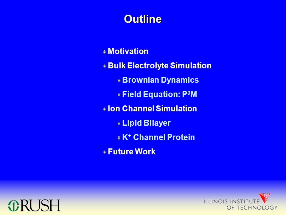 Outline Motivation Bulk Electrolyte Simulation Brownian Dynamics Field Equation: P 3 M Ion Channel Simulation Lipid Bilayer K + Channel Protein Future Work