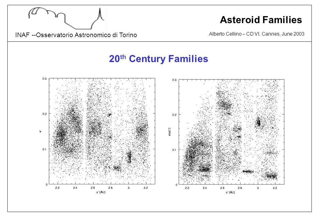 Alberto Cellino – CD VI, Cannes, June 2003 INAF --Osservatorio Astronomico di Torino Asteroid Families 20 th Century Families