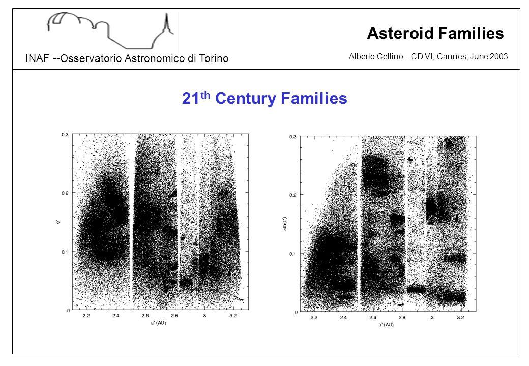 Alberto Cellino – CD VI, Cannes, June 2003 INAF --Osservatorio Astronomico di Torino Asteroid Families 21 th Century Families