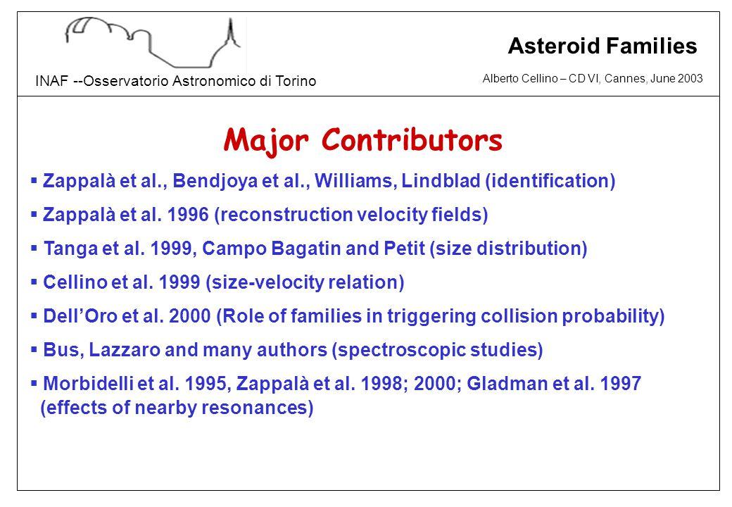Alberto Cellino – CD VI, Cannes, June 2003 INAF --Osservatorio Astronomico di Torino Asteroid Families Major Contributors  Zappalà et al., Bendjoya et al., Williams, Lindblad (identification)  Zappalà et al.