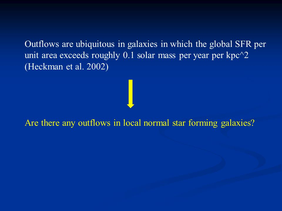 Outflows are ubiquitous in galaxies in which the global SFR per unit area exceeds roughly 0.1 solar mass per year per kpc^2 (Heckman et al.