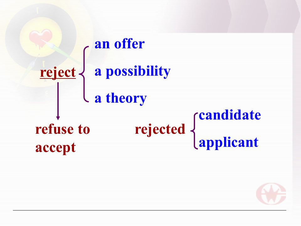 reject an offer a possibility a theory refuse to accept rejected candidate applicant
